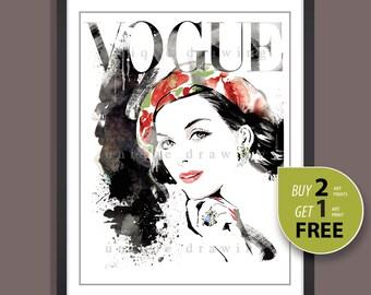 Fashion Illustration, fashion poster, fashion print, Vogue print, Vogue poster, Vogue cover, wall art, Vogue magazine, vintage Vogue, 3242