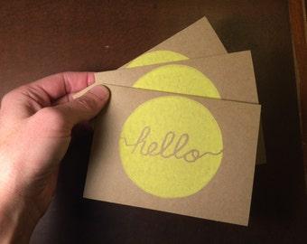 Hello greeting card, Set of 3, hand printed, linocut, block print, 4x5.5
