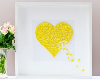 Yellow Butterfly Heart Picture