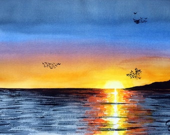 "Modern Watercolor ""Puesta del sol in Tarifa"", original painting, sunset in Andalusia"