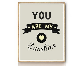 Art Prints for Kids . Quote Art Print . You Are My Sunshine Nursery Wall Art . Childrens Wall Art . Kids Wall Art -KP0053