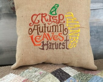 Embroidered Fall Pillow