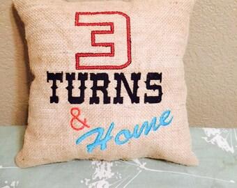 Barrel Racing Burlap Throw Pillow