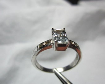 Natural Aquamarine and Natural Diamond Ring,WOOW GOOD LOOKING