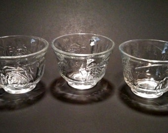Indiana Rose Pressed Glass Punch Cups Set of 3