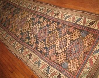 Antique Caucasian Kazak Shirvan Rug Size 4'x12'