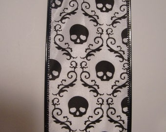 1 Yard Ribbon-Black and White Skull Vintage Halloween Look