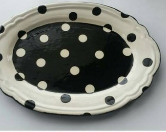 Black and White Polka Dot Ceramic Platter, Ceramic Platter, Black and White Ceramic Platter, Polka Dot Platter, Fun Ceramic Platter, Dots
