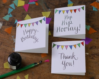 Happy Birthday! Thank You and Hip Hip Hooray! Bunting greeting card packs by Alice Draws The Line with Hand Lettering