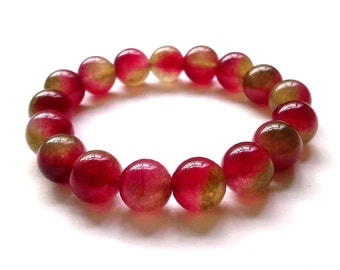 12 mm Watermelon Tourmaline Stone beads, Beadwork, Free shipping