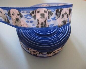 "Grosgrain Dalmatian Print Dog Ribbon 7/8"" 22mm"