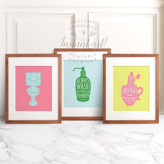 Bathroom art printables set of 3 multicolor flush the for Bathroom decor printables