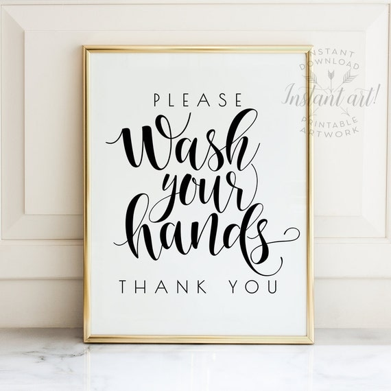 Bathroom Printable Art Wash Your Hands Sign By Thecrownprints