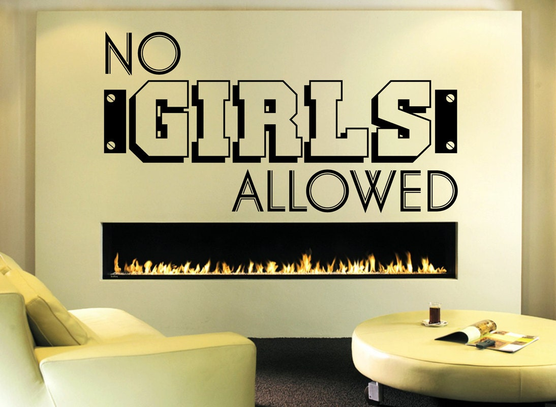 No Girls Allowed Wall Quote - Wall Decal - Boys Room Decal - Kids ...