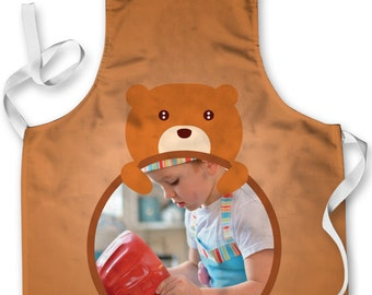 Personalised Bear Design add your own photo Childrens Apron Baking Cooking Painting Water Play Arts & Crafts Made In Yorkshire