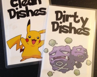Pokémon Reversible Magnetic Dishwasher Sign | Geek Kitchen | Pokemon Clean Dirty Dishwasher Magnet | Pikachu