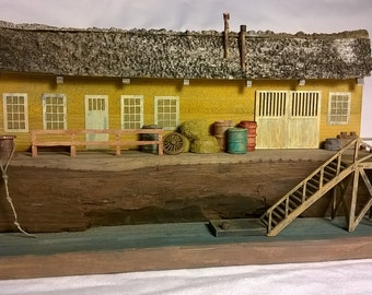 Driftwood Sculpture Art, Seaside Town Diorama,