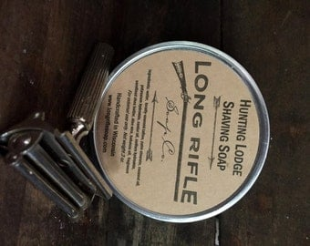Hunting Lodge Tallow Italian Cream Shaving Soap Puck -tobacco, bay rum, and leather fragrance