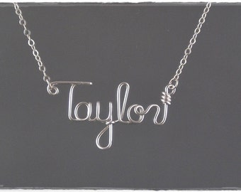 Taylor Wire Word Name Pendant Necklace