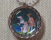 Mary Poppins and Bert - Illustrated - Bottlecap Pendant Necklace - OOAK