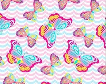 """Ultra Soft """"Heavenly Plush"""" Fabric by the Yard, Butterfly On Waves Pink, Baby Blanket Fleece, No sew Fleece, Tie blanket Fleece"""