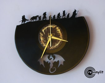 Lord of the Rings clock, Wall clock, Lord of the Rings, vinyl record clock, vinyl clock