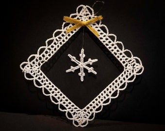 Vintage Handmade White Crocheted Christmas Ornament #14