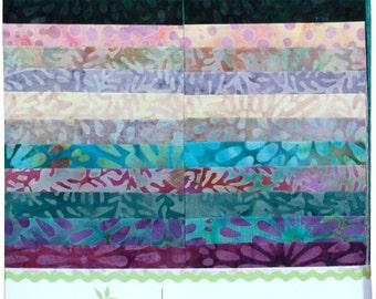 "Island Batik ""Costal Mist"" Strip Set  40 - 2.5 inch strips - jelly roll- Island Strips-blue green  batik fabric, purple batik fabric"