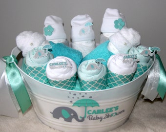 Baby Shower Gift Basket Medium Personalised | Mint And White | Baby Boy |  Newborn Gift