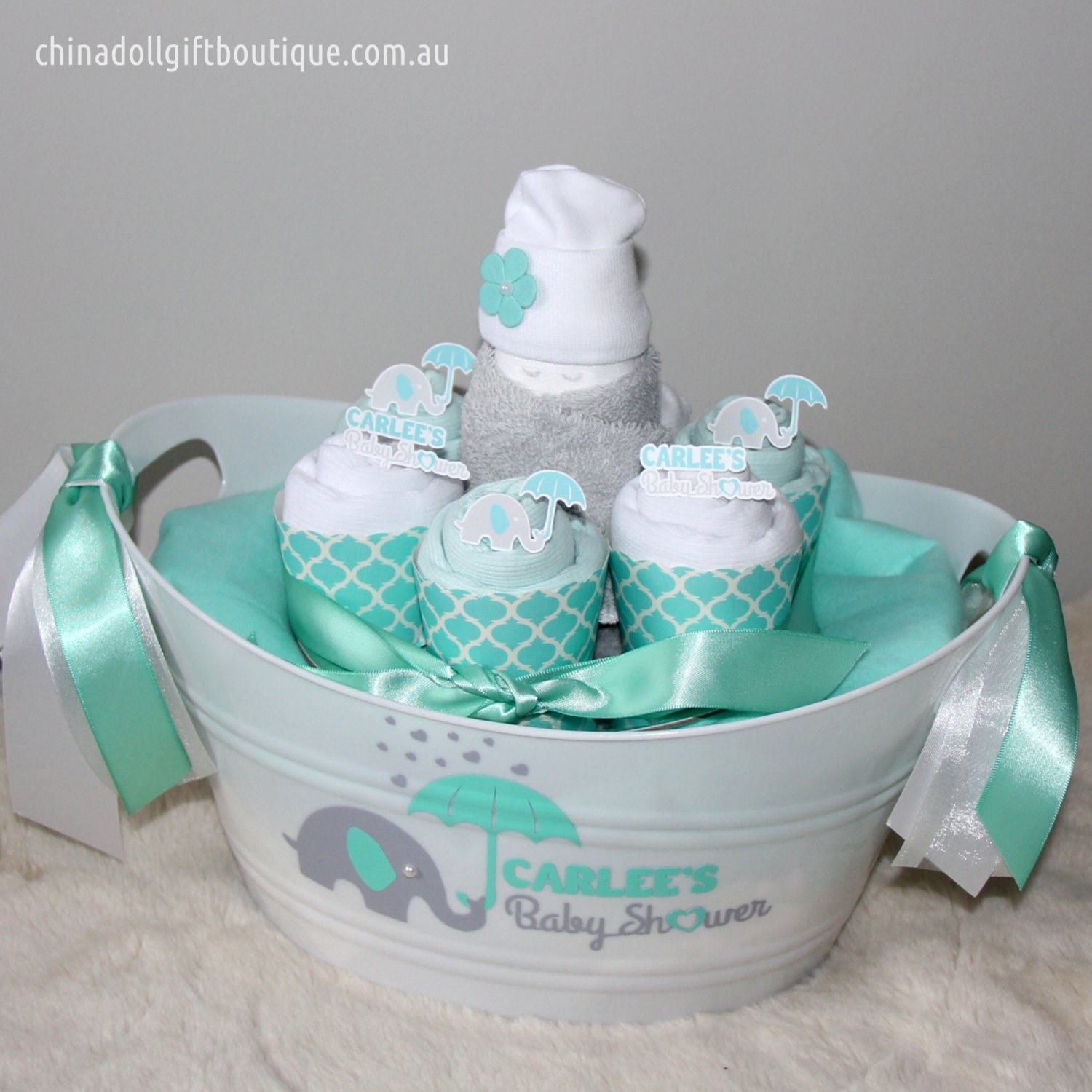 baby shower gift basket small personalised mint and white