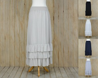 Lagenlook Maxi Skirt Petticoat Underskirt Quirky  S43
