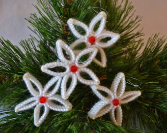Plastic Canvas Star Ornament Set of 4