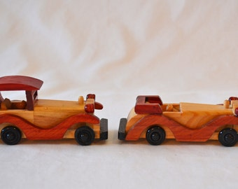 Set of 2 Vintage Hand Made Wood Cars