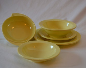 Vintage Yellow Boonton Melmac Dinnerware Set of 5