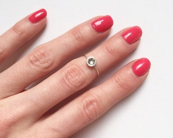 DOT MIDI RING - Sterling Silver Midi Ring - Silver Thin Midi Ring - Silver Circle Pinky Ring