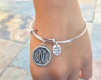 SALE Bangle bracelet bangle charm bracelet bohemian jewelry customize  boho jewelry initial bracelets personalized bracelets