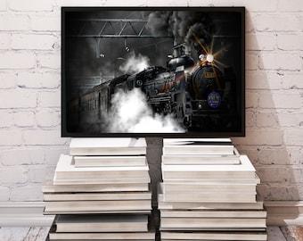 Steam Train poster Locomotive decor Vintage print