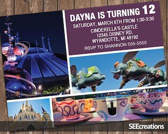 Disney World - Disneyland - Disney Parks Ride Birthday Invitation