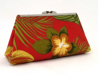 Red Tropical Clutch ~ Red Handbag ~ Red Hawaiian Handbag ~ Red Purse ~ Small Red Clutch ~ Red Evening Handbag ~ Red Cocktail Clutch