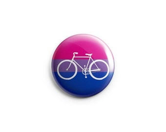 "Bi Pride bike button, magnet, bisexual flag, 1.25"" pinback button, pin, badge, LGBT pride, queer pride badge, cycling, cyclist, biking"