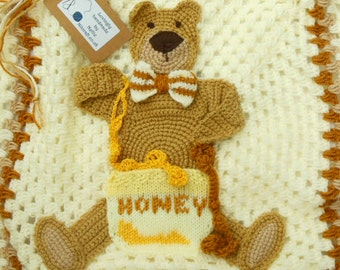 Applique Baby Blanket Afghan Throw with a  Crochet Teddy Bear Picture Animal Nursery Ideal Shower, Receiving, Grandchild Gift Made To Order