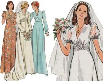 1970s Wedding Dress Empire Waist Gown V-neck Wedding Dress BUTTERICK 3774 sz 10 b 32.5 UNCUT Vintage Wedding Dress Puff Sleeve Dress