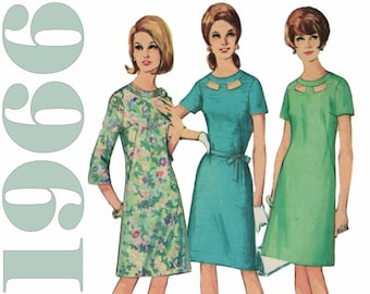 "1960s Shift Dress Cut Out Neckline Mod A-line Dress SIMPLICITY 6839 bust 36"" Three Quarter Sleeve 1960s Dress Pattern 1960s Mod Dress"