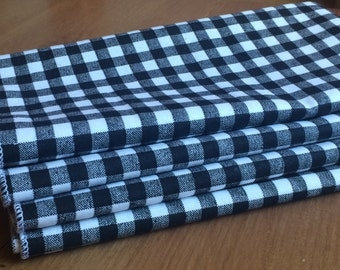 Black and White Checks Cloth Napkins, Set of 12