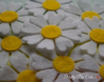 White Daisy Flower, Felt Die Cut Daisies, Felt Spring Flower, Die Cut Flowers, Felt Flowers, Pretty Die Cuts Floral Craft Embellishments