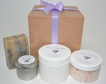 4 Piece All Natural Lavender Spa Set, Birthday Gift, Gift for Her, Gift for Teacher, Bridesmaid gift, Gift for Mom