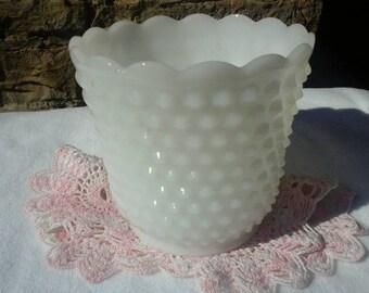 Vintage Fire King White Hobnail Milk Glass Garden Planter Wedding Decor