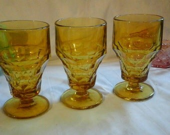 Anchor Hocking amber Georgian Honey Gold Heavy Honeycomb Footed Drinking Replacement Glasses Goblets Set of 3 Retro Glassware