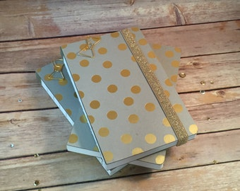 Gold Polka Dot Exposed Spine Journal