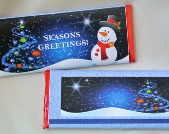 Christmas candy bar wrappers, Seasons Greetings, Christmas party favors, christmas party invitations, snowman, xmas gifts, happy holidays